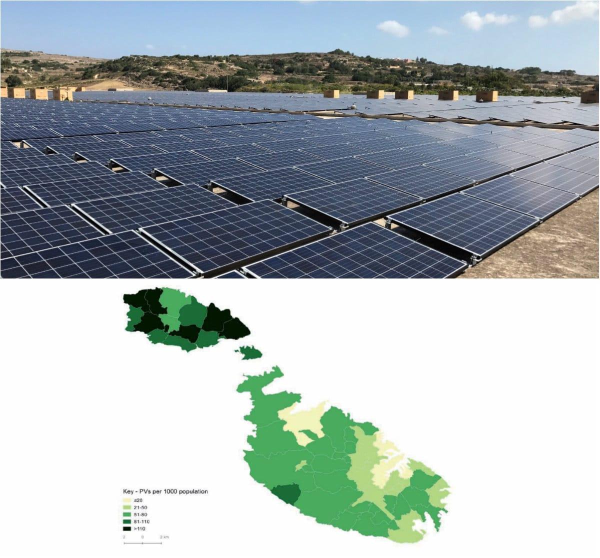 PV Malta increase map